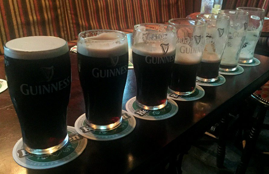 The photo of seven pints tweeted on Friday by Deputy Alan Kelly with the message: 'The seven stages of leadership'
