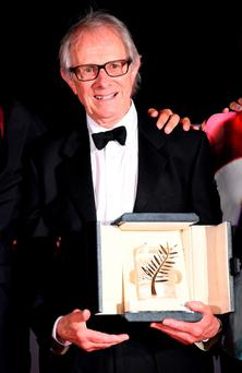 British Ken Loach poses after he was awarded the Palme d'Or for the film
