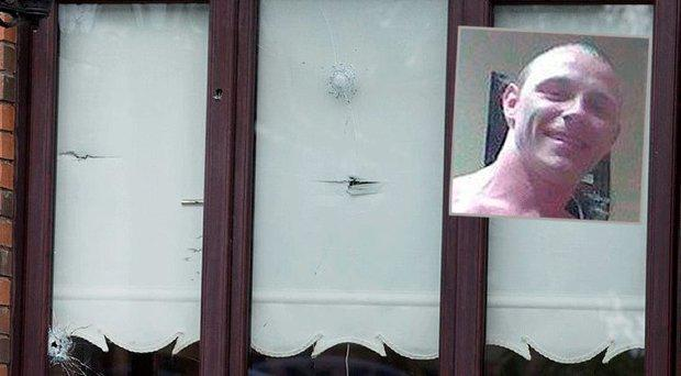 Nine shots were fired through the window, inset Keith Murtagh