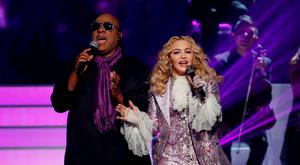 "Stevie Wonder and Madonna perform ""Purple Rain"" during the tribute to Prince at the 2016 Billboard Awards in Las Vegas, Nevada, U.S., May 22, 2016. REUTERS/Mario Anzuoni"