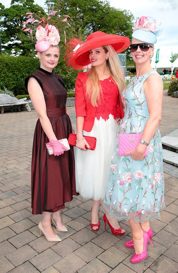 Linda Morrison, Anne Marie Corbett and Gillian Gilbourne at the Killashee Irish Tatler Style Icon competition at The 1000 Guineas at the Curragh Racecouse, Kildare. Picture: Brian McEvoy