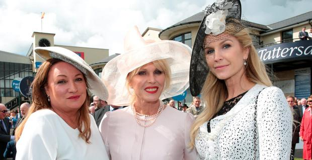 Norah Casey, Joanna Lumley and Yvonne Connolly at the Killashee Irish Tatler Style Icon competition at The 1000 Guineas at the Curragh Racecouse, Kildare. Picture: Brian McEvoy