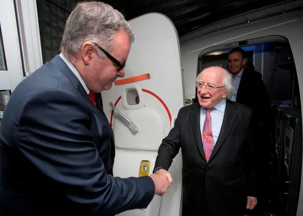 President Michael D Higgins being greeted by Ambassador of Ireland to Turkey H.E. Brendan Ward at Ataturk International Airport, Istanbul prior to the Presidents two day visit to The World Humanitarian Summit in Istanbul
