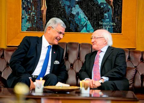 President Michael D Higgins with H.E Volkan Bozkir, Turkish Minister for EU Affairs at Ataturk International Airport, Istanbul prior to the Presidents two day visit to The World Humanitarian Summit in Istanbul