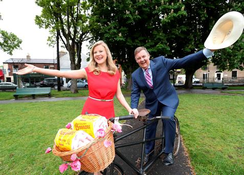 RTE's Nuala Carey and Brian Dobson at the launch of the 23rd annual Brennans Bloomsday Bike Rally in Dublin's Sandymount Green. Picture: Sasko Lazarov/Photocall Ireland