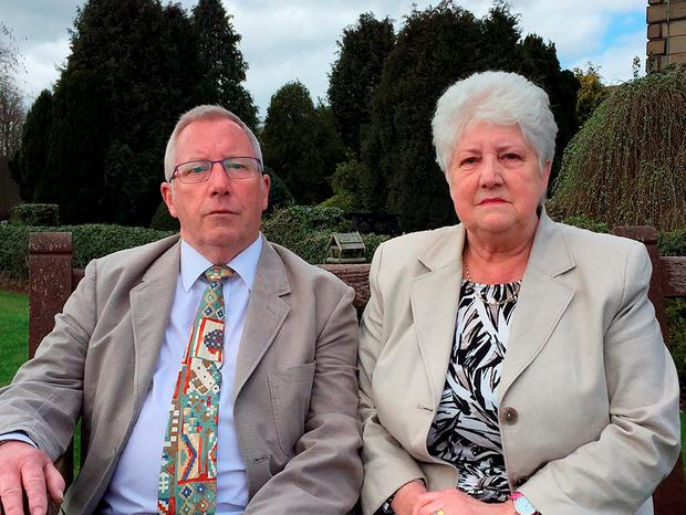 Previously unissued photo dated 22/04/16 of Keith and Margaret Wilson, whose son Paul Wilson died after eating a takeaway curry from the Indian Garden, Easingwold, North Yorkshire, despite telling staff he could not eat nuts, as restaurant owner Mohammed Zaman has been convicted of his manslaughter