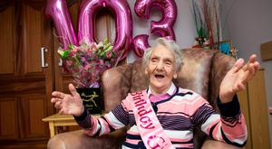May Morris (103) pictured in the Hillview Nursing Home in Carlow . Pic Kyran O'Brien