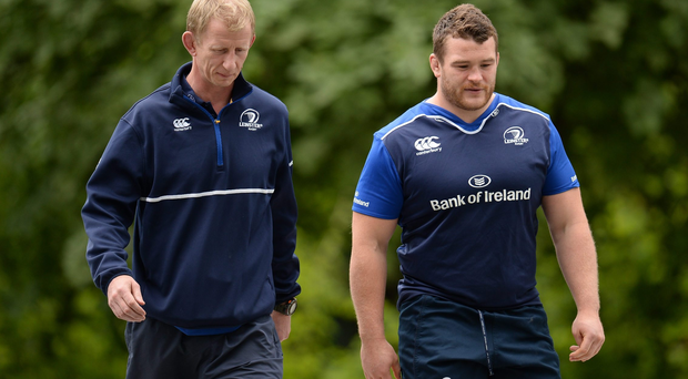 23 May 2016; Leinster head coach Leo Cullen, left, and Jack McGrath arrive for squad training at UCD in Dublin. Photo by Seb Daly/Sportsfile