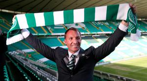 New Celtic manager Brendan Rodgers poses after the press conference