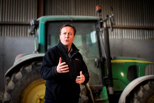 Prime Minster David Cameron addresses local farmers from the Ahoghill, Co. Antrim at Ballybollan House, during a recent visit setting out the case for staying in the European Union. Photo: Liam McBurney/PA Wire