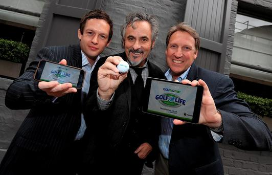 GolfNow's Chris Knipe and Dan Higgins pictured with David Feherty at the launch of the 'Golf for Life' campaign which offers golfers an opportunity to win a free fourball for the next 30 years on any of GolfNow's UK and Ireland courses. Photo: Donall Farmer/INPHO
