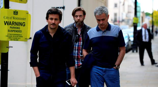 Jose Mourinho (right) and Rui Faria (left) pictured near Mourinho's London home this afternoon