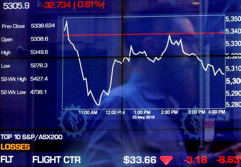 A pedestrian is reflected in a window of the Australian Securities Exchange (ASX) with a board displaying stock prices in Sydney, Australia