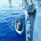 Crew of the LÉ Róisín as they launch to Rescue Personnel from the Mediterranean Sea