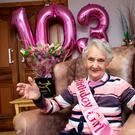May Morris celebrates her 103rd birthday in the Hillview nursing home in Carlow. Photo: Kyran O'Brien