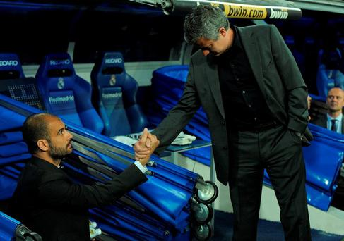 Jose Mourinho and Pep Guardiola will cross paths again in the dug-out in Manchester. Photo: Denis Doyle/Getty Images