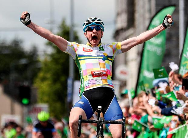 Eoin Morton from UCD Cycling celebrates after winning stage two of the An Post Rás from Mullingar to Charleville. Photo: Ryan Byrne/INPHO