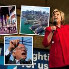 Hillary Clinton on the presidential campaign trail. Insets (clockwise from left): Times Square in New York City and Boston Harbour, two of the destinations targeted by Norwegian Air International; Bernie Sanders