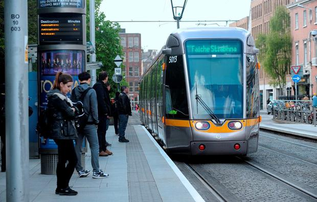 A Luas tram in the city