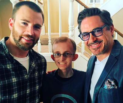 Chris Evans and Robert Downey Jr surprise Ryan Wilcox