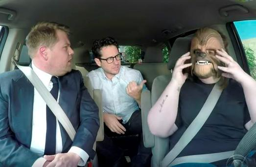 Chewbacca Mom meets James Corden and JJ Abrams