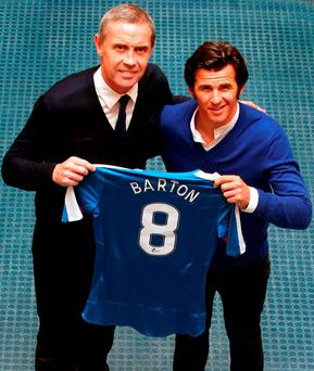 New Rangers signing Joey Barton (right) with assistant manager David Weir