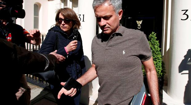 Former Chelsea manager Jose Mourinho leaves his home in London