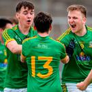 Meath's Daragh Champion, left, James Conlon, 13, Ethan Devin and Eoin Smyth celebrate after beating Dublin in the Leinster GAA Football Minor Championship. Photo: Ray Lohan/Sportsfile