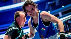 Kellie Harrington is all smiles after her victory in Astana. Photo: AIBA via Sportsfile