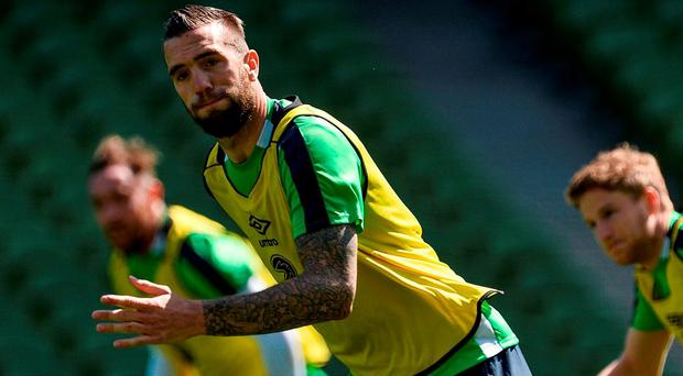 Shane Duffy going through his paces during the Ireland squad's open training session at the Aviva Stadium. DAVID MAHER/SPORTSFILE