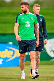Daryl Murphy during Republic of Ireland squad training in the National Sports Campus, Abbotstown, Dublin. Photo: David Maher/Sportsfile