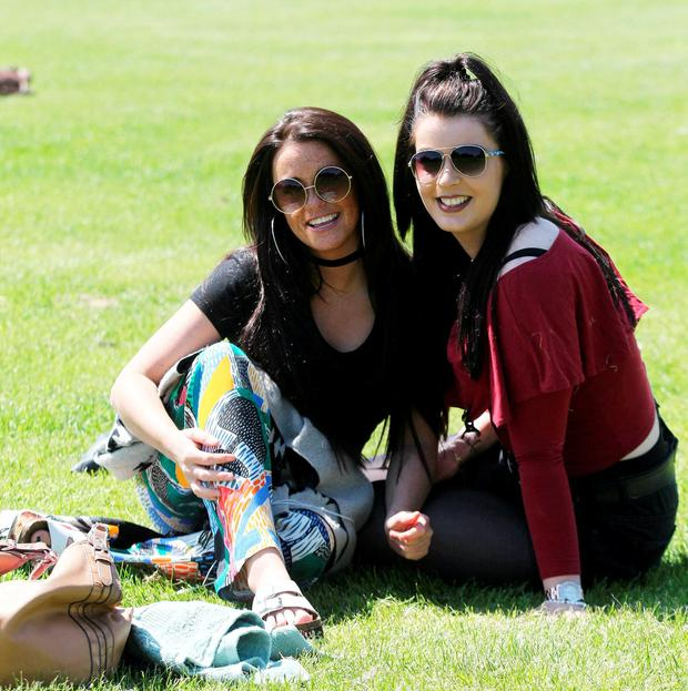 Joan Lyons and Joan Kenny from Bray enjoy the good weather Phoenix Park