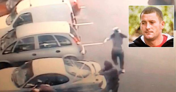 Gunmen caught on CCTV firing the shots which killed Gareth Hutch, inset