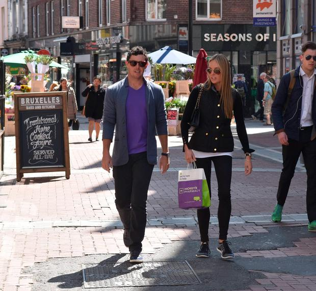 Rory McIlroy and fiancée Erica Stoll seen returning to The Westbury Hotel after a stroll around Grafton Street in the sunshine