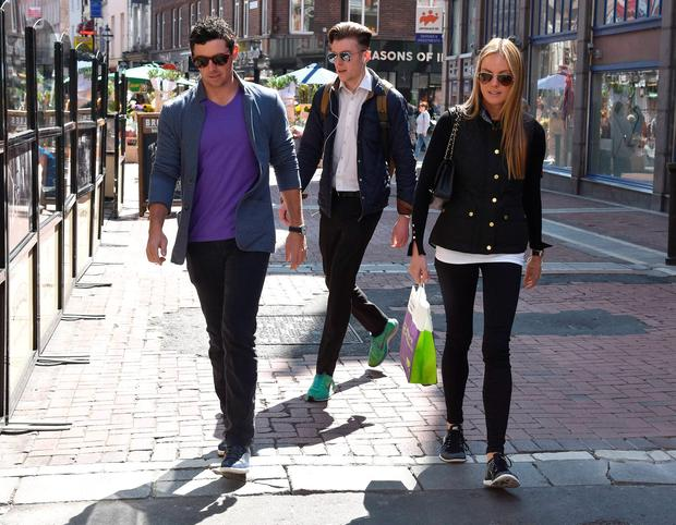 Rory McIlroy and fiancée Erica Stoll seen returning to The Wesbury Hotel after a stroll around Grafton Street