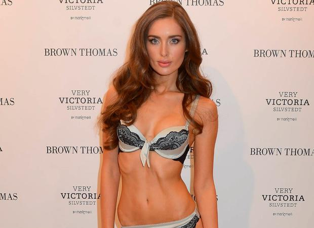 Roz Purcell modelling lingerie for Brown Thomas in 2012