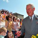 Britain's Prince Charles greets well-wishers at The Museum of Orange Heritage during a tour to Loughgall, Northern Ireland yesterday. Reuters/Clodagh Kilcoyne