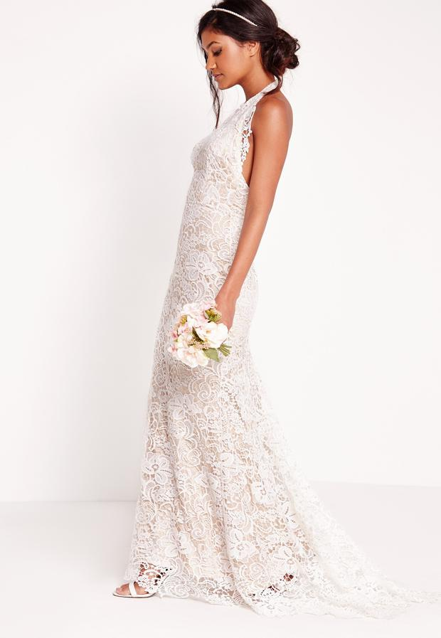Bridal Halter Neck Lace Maxi Dress White, €168.00 at Missguided