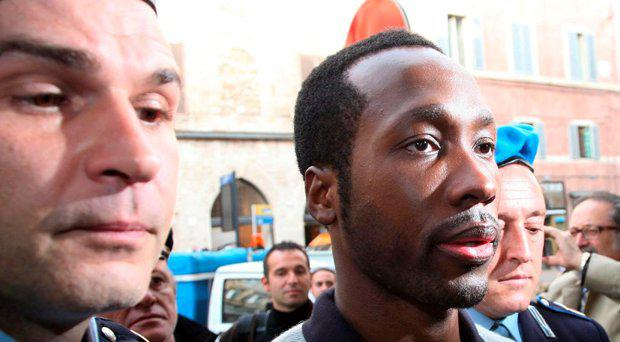 Rudy Guede arrives at the Perugia courthouse for the sitting of his appeal against the sentence he received in the Meredith Kercher murder trial Getty Images
