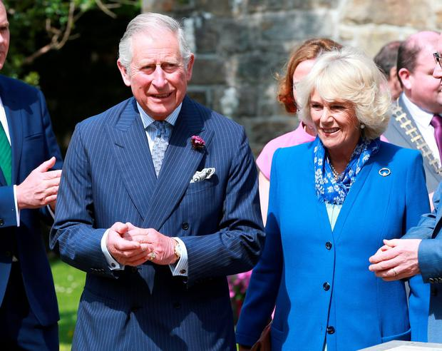 Britain's Prince of Wales Charles and Duchess of Cornwal Camilla in Donegal Castle. Photo: Frank Mc Grath