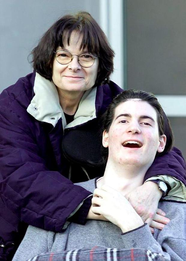 Guido Nasi pictured at Dublin Circuit Criminal Court with his mum Simonetta in 2009 after Osnourne pleaded guilty to recklessly causing serious harm (Courtpix)