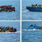 COMBO - In this four-picture combo people try to jump in the water right before their boat overturns off the Libyan coast, Wednesday, May 25, 2016. (Italian navy via AP Photo)
