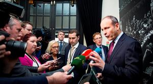 Party leader Michael Martin at Fianna Fáil's main national Commemoration for 1916 at the Round Room at the Mansion House, Dublin. Pictures:Arthur Carron