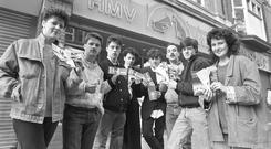 Bruce Springsteen fans after queuing at the HMV store in Henry Street, Dublin, for tickets for his concert in the RDS in 1988. Photo: Tom Burke