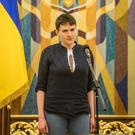 Ukrainian military pilot Nadiya Savchenko during an appearance at the Presidential Administration building following Savchenko's return to Ukraine (Photo by Brendan Hoffman/Getty Images)