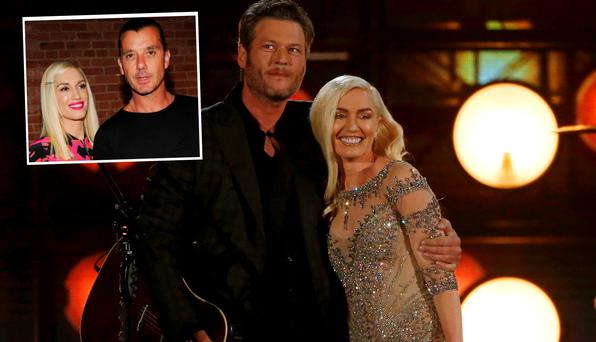 Blake Shelton and Gwen Stefani and left, is Gwen with ex-husband Gavin Rossdale