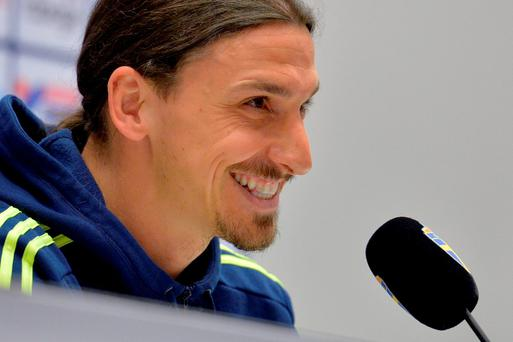 Sweden's Zlatan Ibrahimovic smiles during a presser today