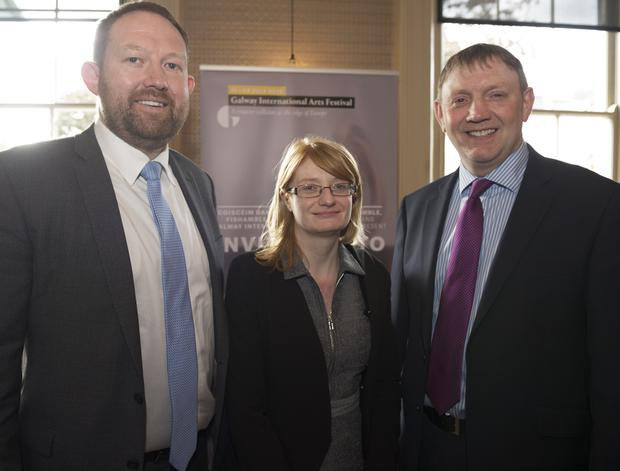 Mike Fogarty, Mary Keaveney and Ray Dolan, Ulster Bank, pictured at the launch of the Galway International Arts Festival programme at the Gaslight Bar and Brasserie in Hotel Meyrick on Tuesday, 24 May. The Festival will run from 11-24 July 2016.