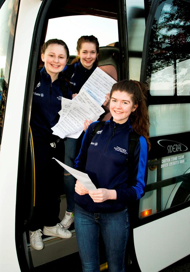 3rd year students Lauren Delaney, Ruth Ryan and Aoife Nolan as they head off to the UK. Picture Colm Mahady / Fennells