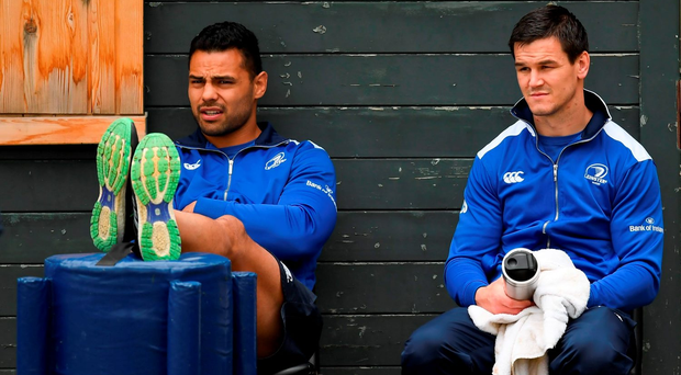 Ben Te'o and Johnny Sexton relax during the Leinster squad training in UCD this week. Photo: Stephen McCarthy/Sportsfile